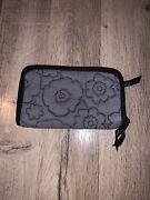 Thirty-one Embroidered Floral Grey Wallet 4 X 7 Grey Black Soft Zipper Nwot