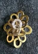Vintage Signed Fjg 14k Yellow Gold And Diamonds Pendant/brooch