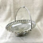 Silver Plate Basket Bread Bowl Dish Ornate Engraved Swing Handle Walker And Hall