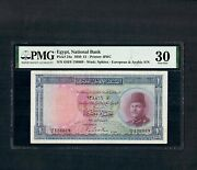 Egypt One Pound 1950 P24a Sign. Leith Ross Pmg 30 Very Fine