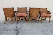 Mcguire Palecek Link Style 4 Burnt Bamboo Club Chairs Woven Rattan Back Sides