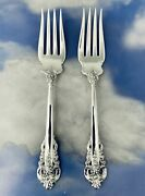 Set Of 2 Wallace Grand Baroque Sterling Silver Serving Forks 8-1/8 Mint