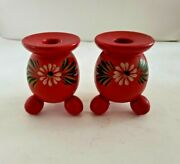 🌼 Swedish 3 Wooden Red Ball Footed Hand Painted Candle Holders Candlesticks