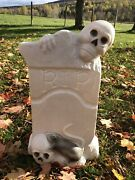 Vintage Halloween Blow Mold Tombstone Rip Skeleton Rat 22in -no Electrical Cord