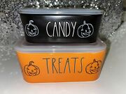 Rae Dunn Halloween 2021 Treats And Candy Ceramic Food Storage Containers.
