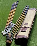 Antique Hickory Wood Shaft Golf Clubs W/ Balls And Stovepipe Bag Wright And Ditson
