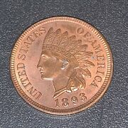 1893 Indian Head Penny In Almost Uncirculated Condition R-105