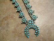 30 Exquisite Old Zuni Sterling Snake Eye Turquoise Squash Blossom Necklace