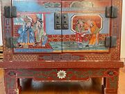 Small Hope Chest Vintage Chinese Art Multicolored Commode Original Cozy Painting