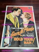 Hold Your Man Universal Studios Early Sound All Talking Poster Carl Laemmle 1929