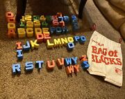Bag Of Blocks Mattel Lot Of 52 Blocks Letters And Numbers 1971 Alphabet Missing X