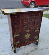 Vintage Chinese Wood Altar Table Herb Apothecary 16 Drawers Medicine Cabinet
