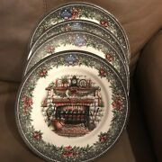 Royal Stafford 4 Christmas Fireplace Hearth 1791 Dinner Plates Dishes