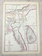 1858 Antique Map India Eastern Provinces Ceylon Old Hand Coloured 19th Century