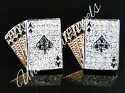 Menand039s 0.04ct Round Sim Diamond Poker Card Stud Earring 14k Rose Gold Over Silver