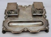 Walker And Hall Sterling Silver / Glass Inkwell Pen C. 1931 Sheffield England