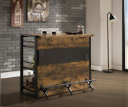Modern Industrial Front Bar Pub Table Wine Cabinet And Storage, Antique Nutmeg