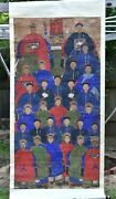 Large Antique Chinese Ancestor Portrait Painting On Silk Fabric , 19th C