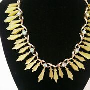 Art Deco Green And Gold Statement Necklace Beautiful