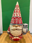 Jim Shore -hwc - Nordic Noel Gnome With Owl - Large 20 Nd6009500 New For 2021