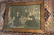 Abraham Lincoln And Family Steel Engraving In Original Frame 1866