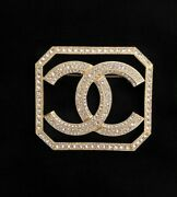 Sold Out Gorgeous Auth Gold And Crystal Cc Pin Brooch W/ Orig Tag And Box