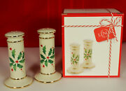 New Lenox Holiday Salt Pepper Shakers Holly Berries Porcelain Christmas 2 Lots