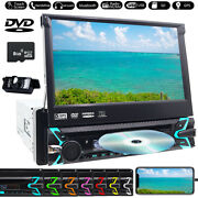 Single 1din Car Radio 7 Dvd Cd Player Flip Stereo Aux Sd Touch Screen +camera