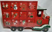 Wooden Advent Truck Christmas Advent Calendar With Drawers Red Truck