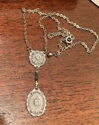 Art Deco Double Camphor Glass Clear And Black Rhinestone Necklace Pendant