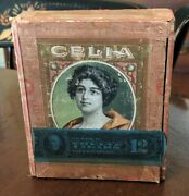 Antique Celia Cigar Tobacco Wood Box Chromolithograph And Tax Stamp Pa