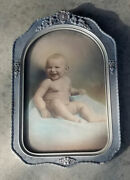 Antique Wood Oval Picture Frame Convex Happy Baby Portrait Photo