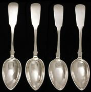 Antique Heavy Russian Silver Fiddle Soup Table Place Spoons 8 3/8
