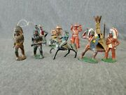 Lot Of 8 Manoil Cowboys And Indians Including The Hands Up Cowboy  Ships Free