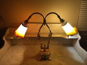 Antique French Double Goose Neck Adjustable Table Lamp Art De France Tulip Shade