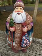 7.5 Inch Russian Santa Ded Moroz Hand Painted And Hand Carved Wood Signed