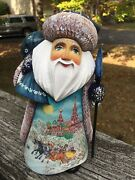 Large 9.5'' Russian Santa Ded Moroz Hand Painted And Hand Carved Wood Signed