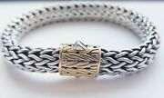 John Hardy 18kt Gold And Sterling Silver Woven Bracelet In Orig. Jh Pouch