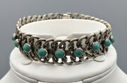 Old Pawn Vtg Petit Point Turquoise And Sterling Silver Link Bracelet Mexico Navajo
