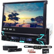 Single 1 Din Car Cd Dvd Player 7 Bluetooth Touch Screen Stereo Radio Camera Tv