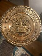 """Vintage Decorative Brass Metal United States Army Plate 10"""" Rare"""