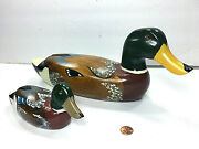 Collectible Set Of 2 Vintage Wooden Mallard Duck Decoy Hand Painted 14l And 7.5l