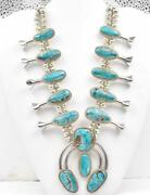 Vintage Native American Fs Sterling Silver And Turquoise Squash Blossom Necklace