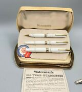 Vintage Waterman 100 Years Doctor Fountain Pen Pencil Thermometer 3 Pc Set Box