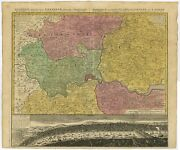 Antique Map Of London And Surroundings By Homann Heirs 1741