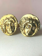 Vintage Roman Coins Medusa Sterling Silver Gold Plated Cufflinks Heavy 22 Grams