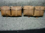 Wwii German G43 Pebbled Brown Leather Pouch Set Ros 1944 Not K98 P08