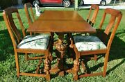 Beautiful Antique/vtg Ornate Carved Oak Wood 54 Dining Room Table 4 Chairs Set