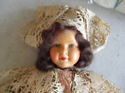 Vintage Large Jointed Celluloid Girl Doll France 35 Marked
