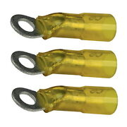 3 Pack Yellow 12-10 Awg Heat Shrink 3/8 Inch Ring Terminals For Boats
